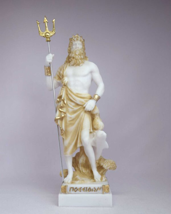 Poseidon statue Greek God made of Alabaster in Patina color