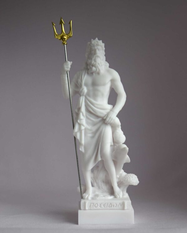 Poseidon statue Greek God made of Alabaster in White color