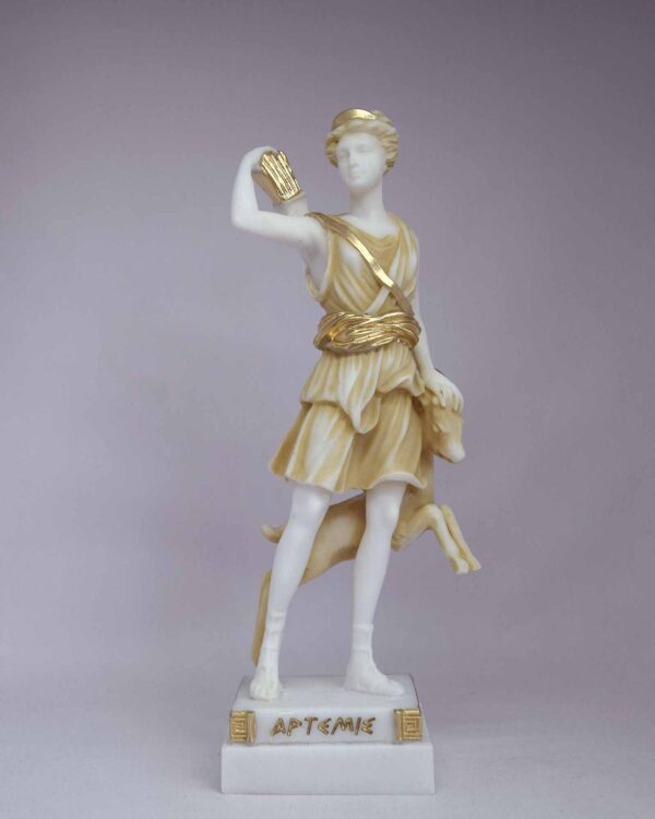 The statue of Artemis holding her bow, quiver and a young deer in Patina color