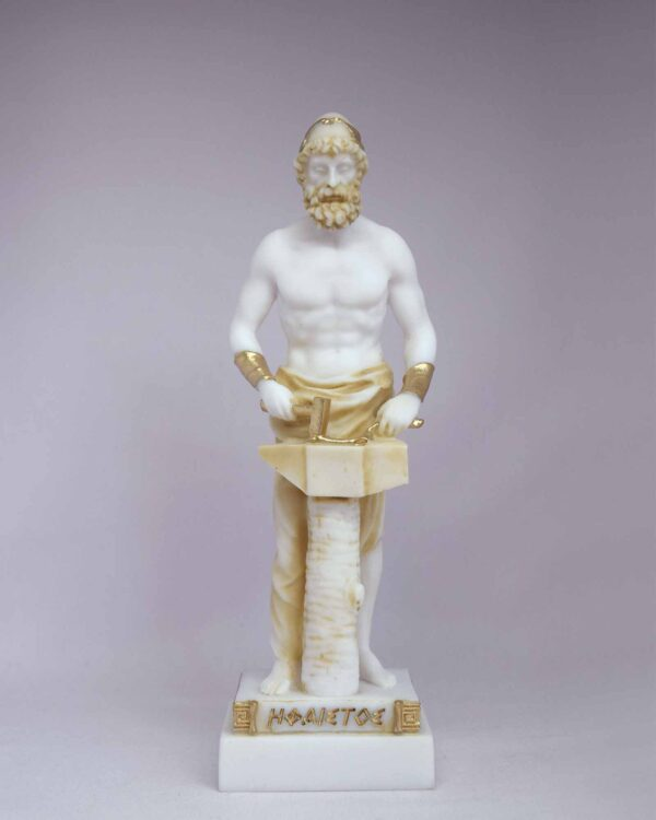 The statue of Hephaestus working on anvil in Patina color