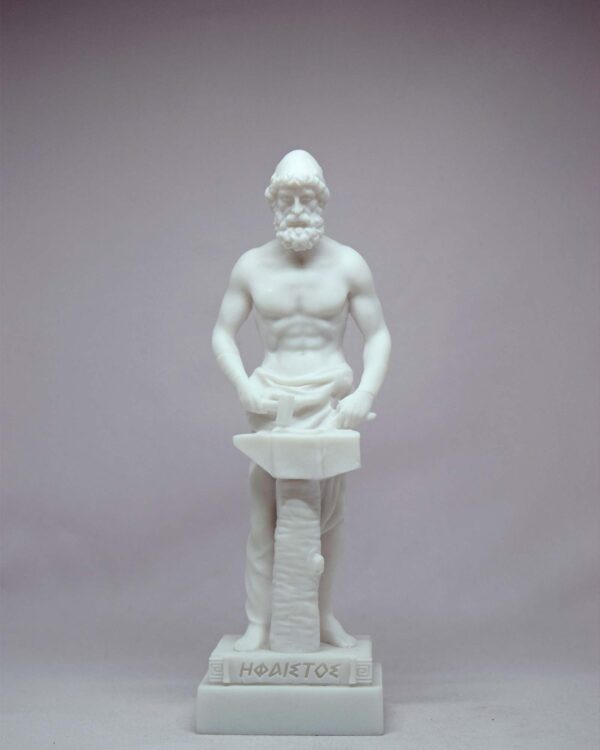 The statue of Hephaestus working on anvil in White color