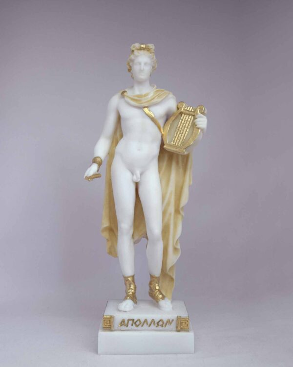 The statue of Apollo holds his lyre in Patina color