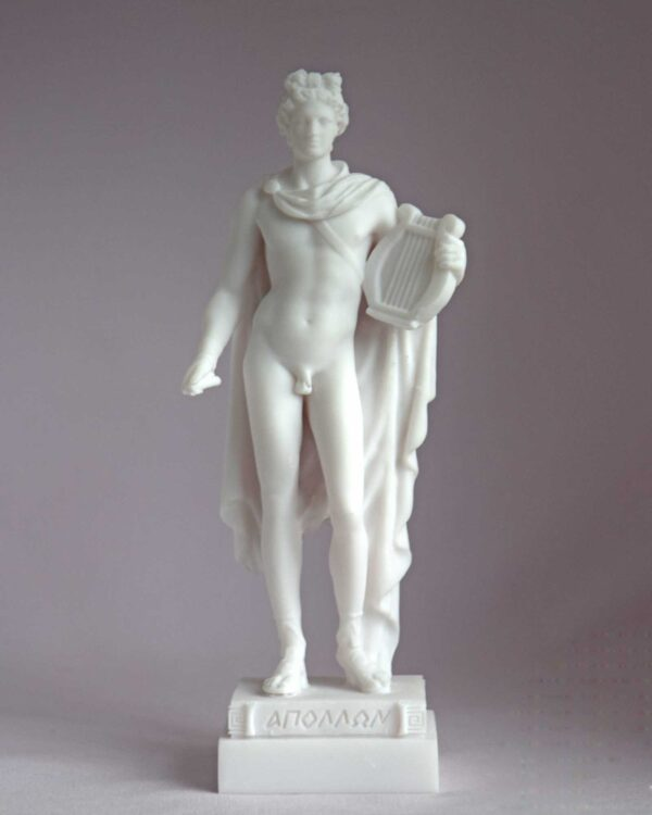 The statue of Apollo holds his lyre in White color
