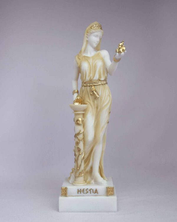 The statue of Hestia standing close to fire in Patina color