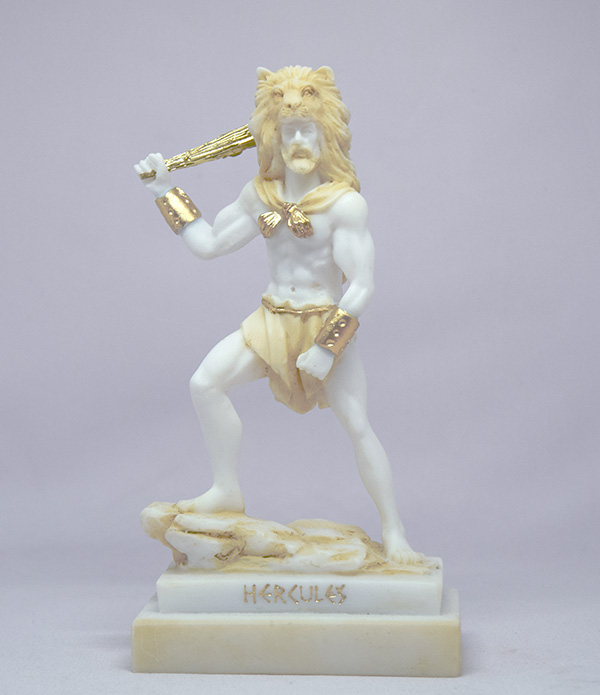 Hercules ready to fight with a bat wearing a lion's hat in Patina color
