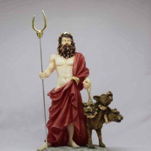 Hades statue with Cerberus in color