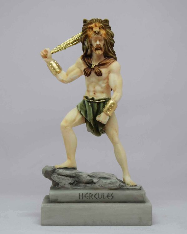 Hercules ready to fight with a bat wearing a lion's hat in color