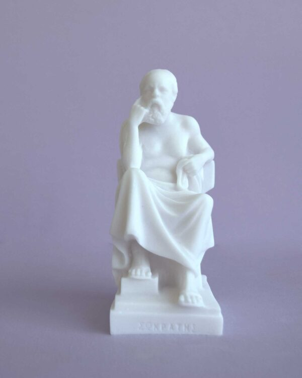 The statue of Socrates thinks while sitting in White color