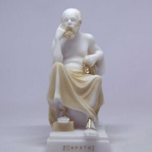 The statue of Socrates thinks while sitting in Patina color