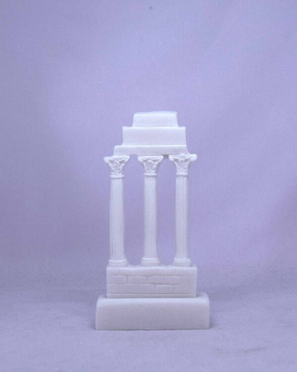 The statue of three ancient Greek columns in a row in White color