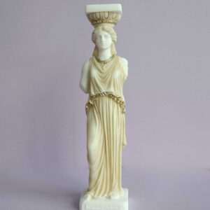 Caryatid statue replica made of Alabaster in Patina color