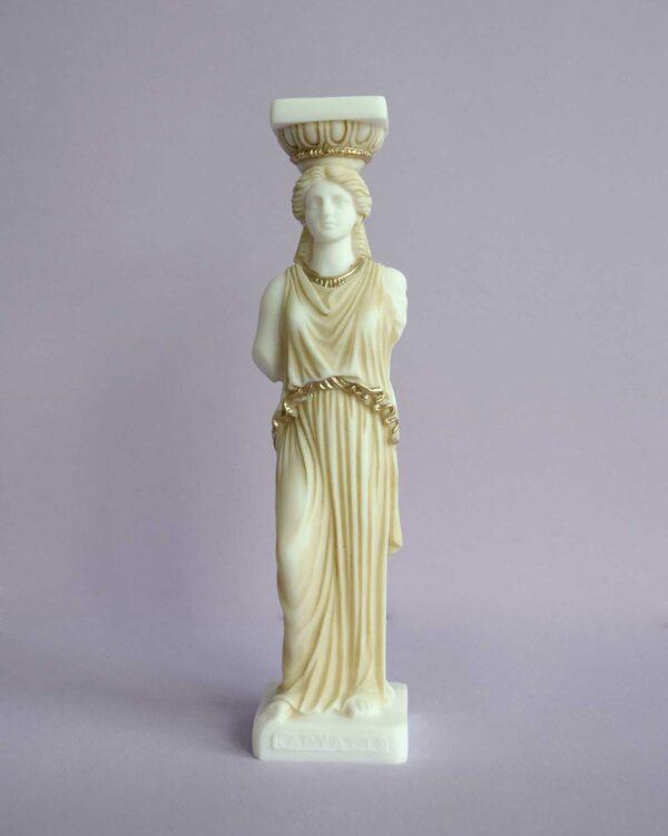 Caryatid statue replica made of Alabaster in Patina color