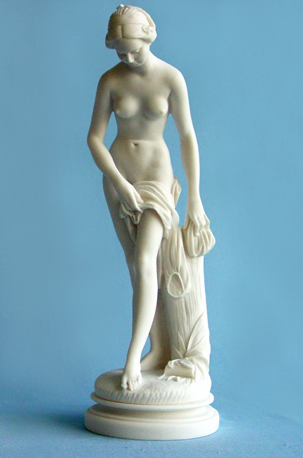 Statue of Maiden with her head bent over in White color