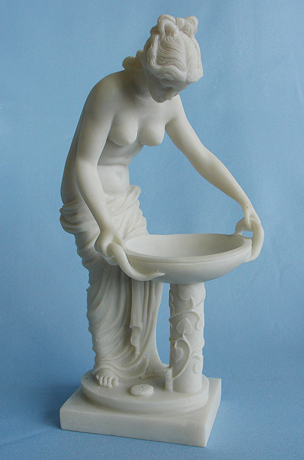 The whole statue of Hestia made of Alabaster in White color