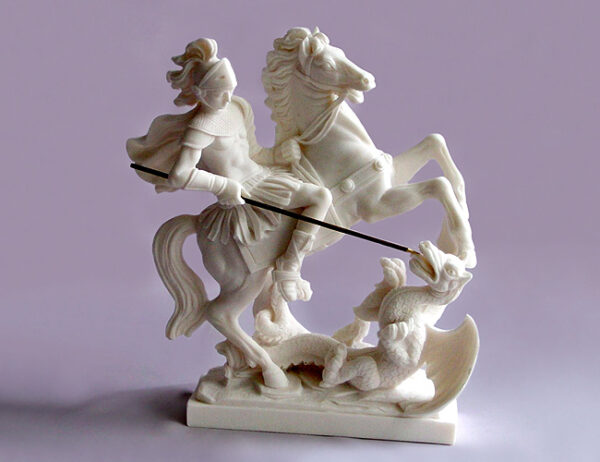 The statue of Saint George who slays the dragon in White color