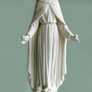 The statue of Virgin Mary holding flowers in White color