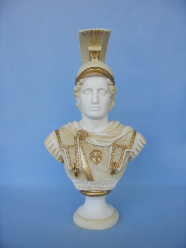A bust statue of Alexander the Great in Patina color