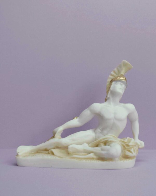 The statue of Achilles, hit on the heel, lying down in Patina color