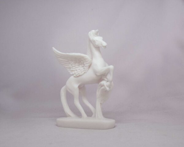 The statue of Pegasus standing in White color