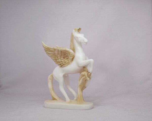 The statue of Pegasus standing in Patina color