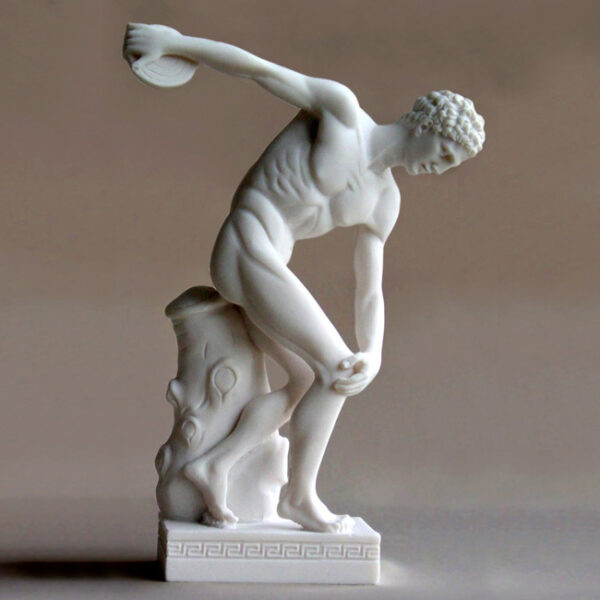 The statue of Discobolus (Discus thrower) ready to throw the discus in White color