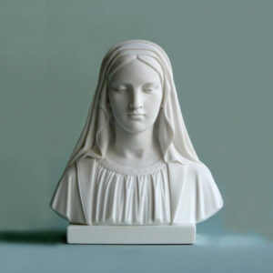 The bust statue of Virgin Mary looking down in White color