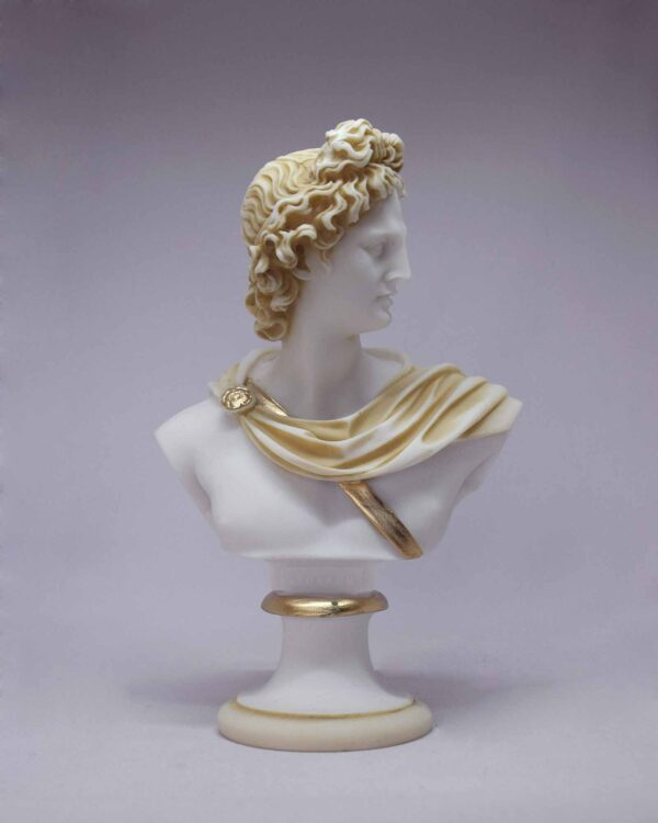 The bust statue of Apollo in Patina color