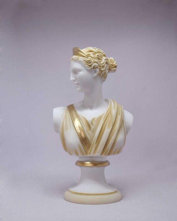 The bust statue of Artemis in Patina color