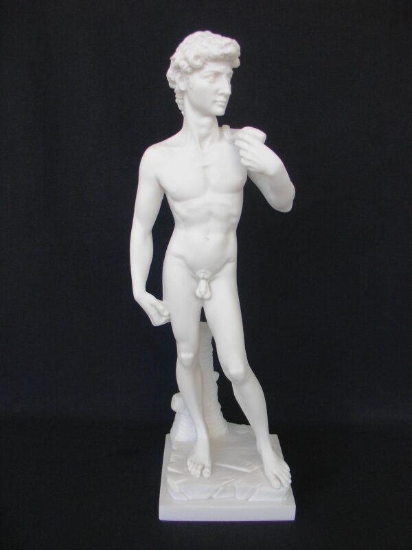 This is a replica of David statue by Michelangelo in White color