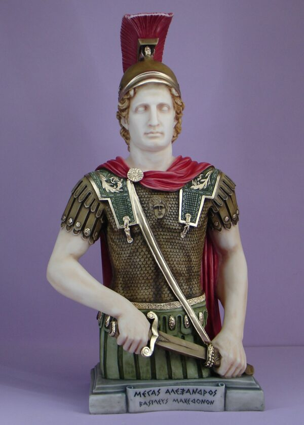A half statue of Alexander the Great in color