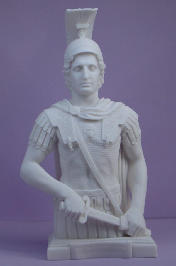 A half statue of Alexander the Great in White color