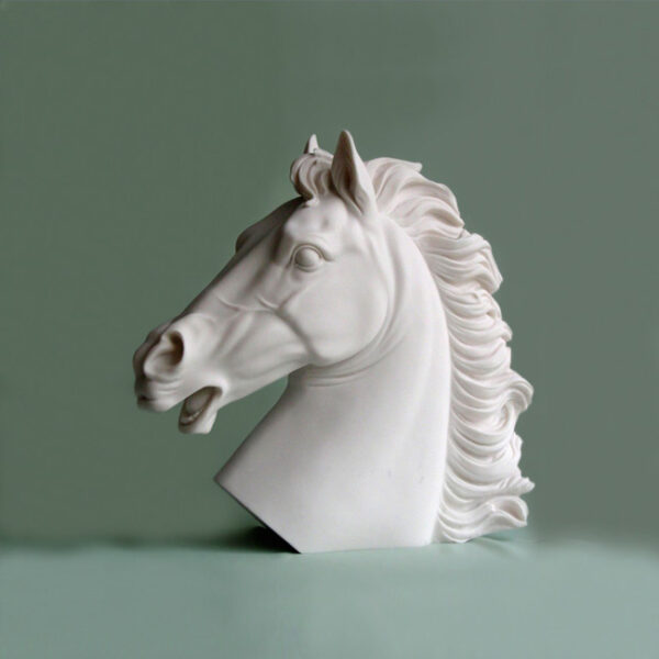 The bust statue of a horse in White color