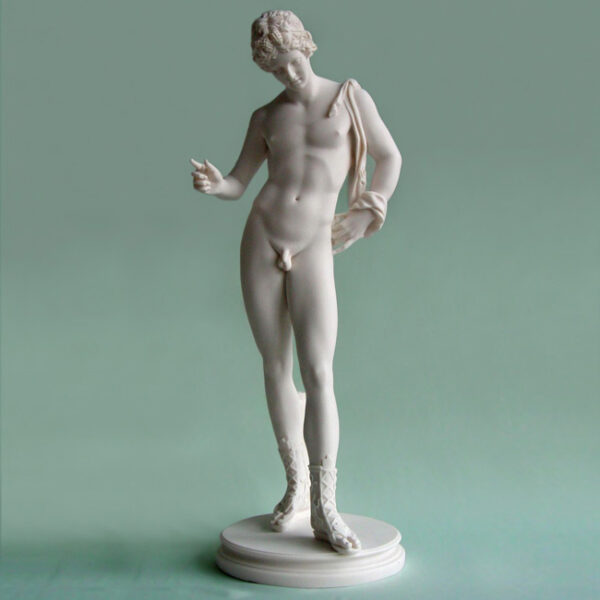 The statue of Adonis standing in White color