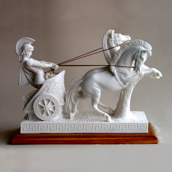 The statue of a Romeo warrior on a two-wheeled carriage carried by 2 horses (Type 2) in White color