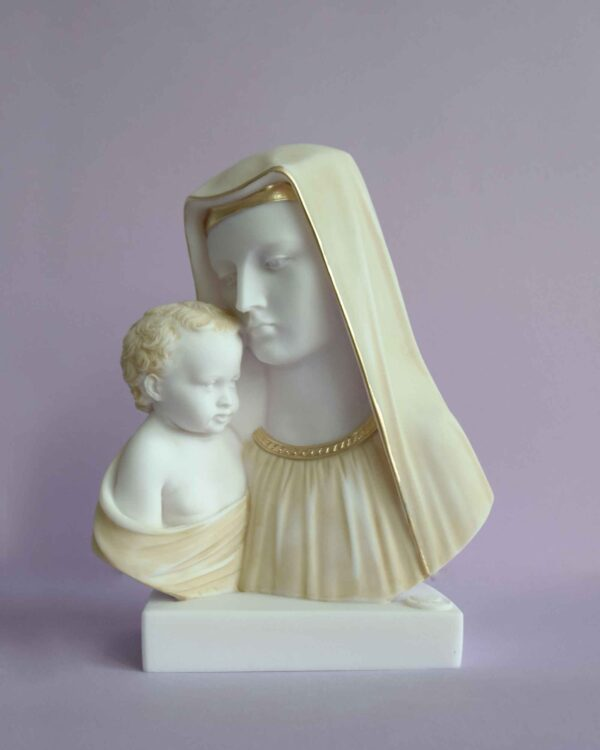 The bust statue of Mary and baby Jesus in Patina color