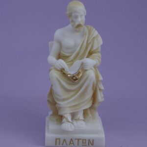 The statue of philosopher Plato in Patina color