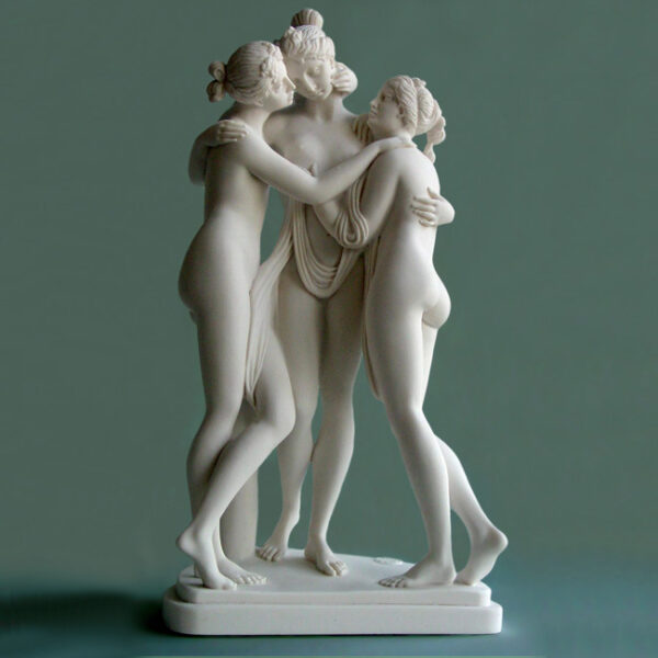 The statue of the three nude Graces hugging each other in White color