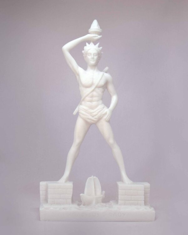 The whole statue of Colossus of Rhodes. One of the Seven Wonders in White color