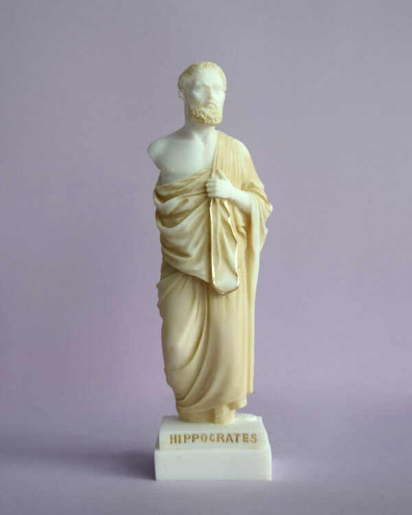 The whole statue of Hippocrates in an upright position in Patina color