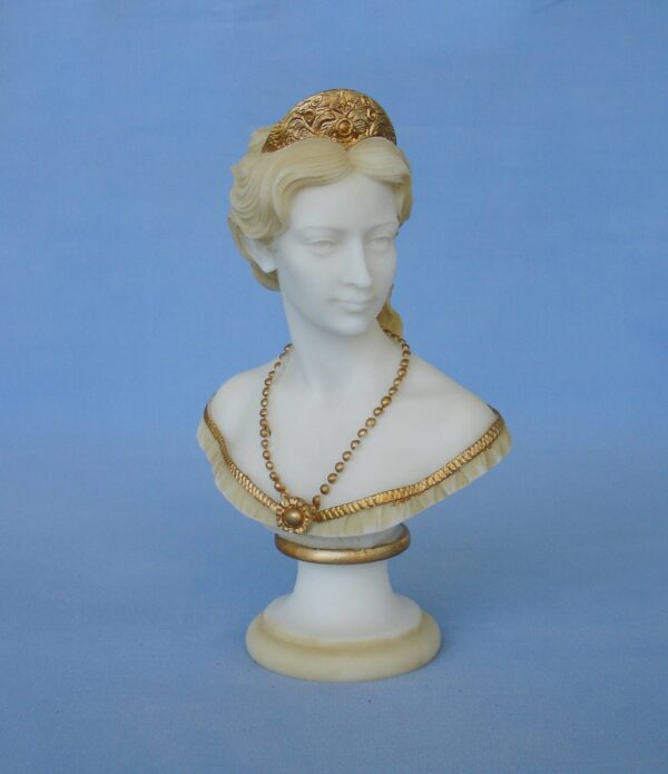 The bust statue of Elisabeth of Austria also called Sissi in Patina color