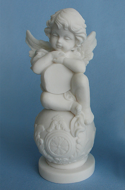 A statue of an Angel sitting on a sphere type 5 in White color