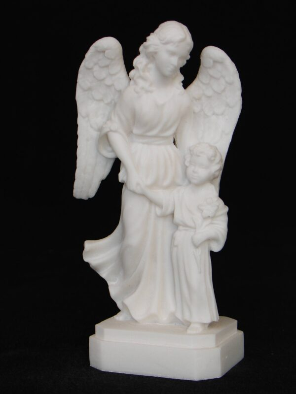 The Guardian Angel with a girl holding a flower in White color