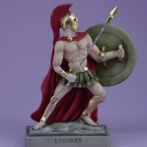 The statue of Leonidas in defense with his spear and shield in color