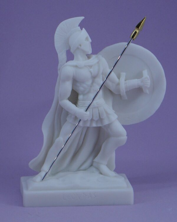 The statue of Leonidas in defense with his spear and shield in White color