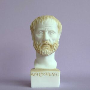 The bust statue of Aristotle in Patina color