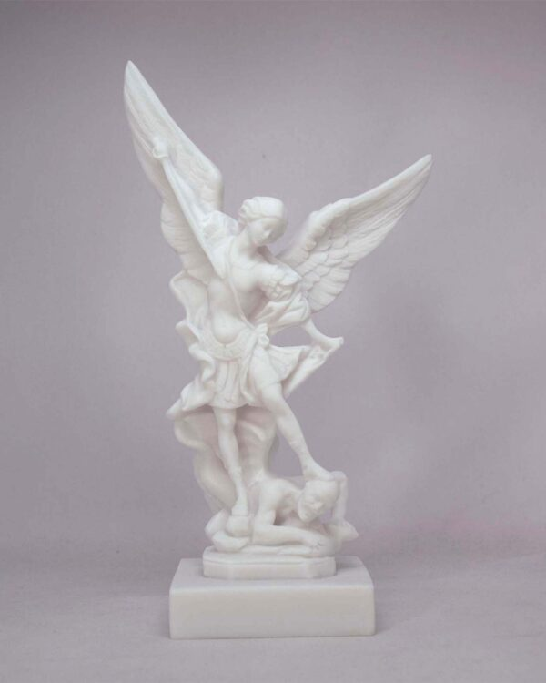 The statue of Saint Michael tramples Satan in White color