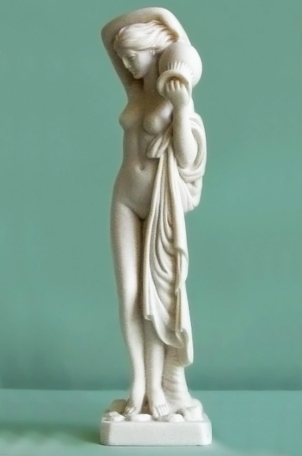 Maiden carries clay pot made of Alabaster in White color