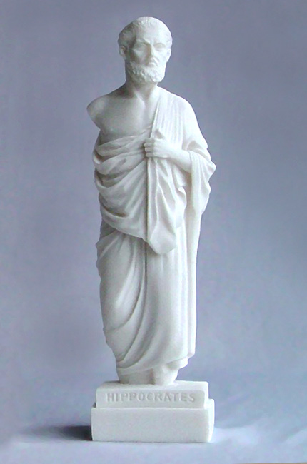 The whole statue of Hippocrates in an upright position in White color