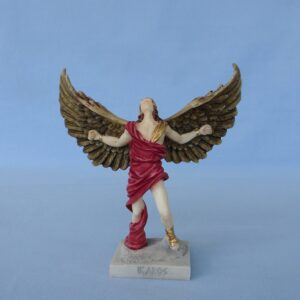 Greek statue of Icarus with open wings in color