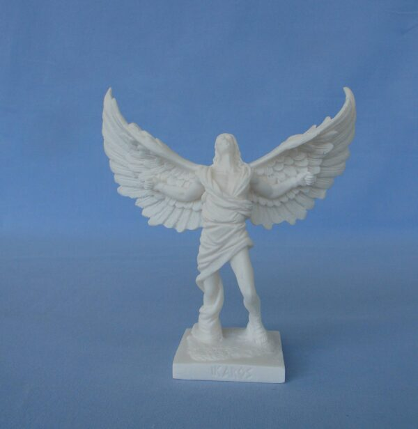 The statue of Icarus with open wings in White color
